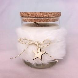 Bougie naturelle parfumée étoile des neiges avec couvercle liège