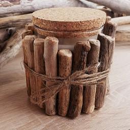Bougie bois flotté avec couvercle en liège