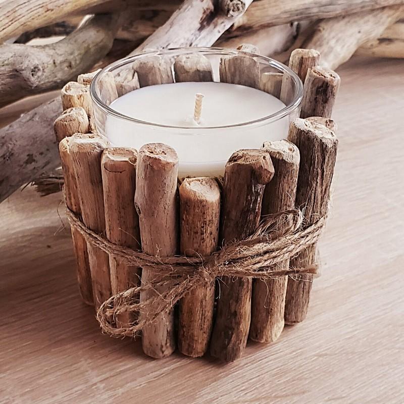 Bougie naturelle bois flotté