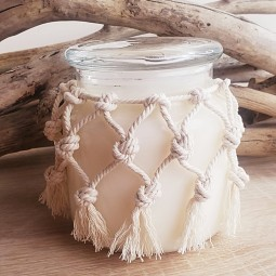 Bougie naturelle parfumée macramé en pot de verre