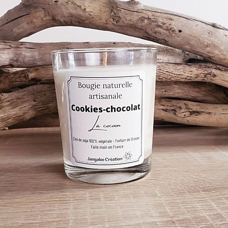 Bougie naturelle parfum cookies-chocolat