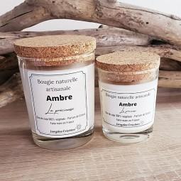 Bougies naturelles parfumées à l'ambre avec couvercle liège